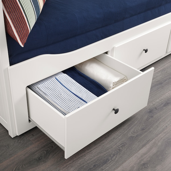 HEMNES Daybed with 3 drawers/2 mattresses, white/Meistervik firm, Twin