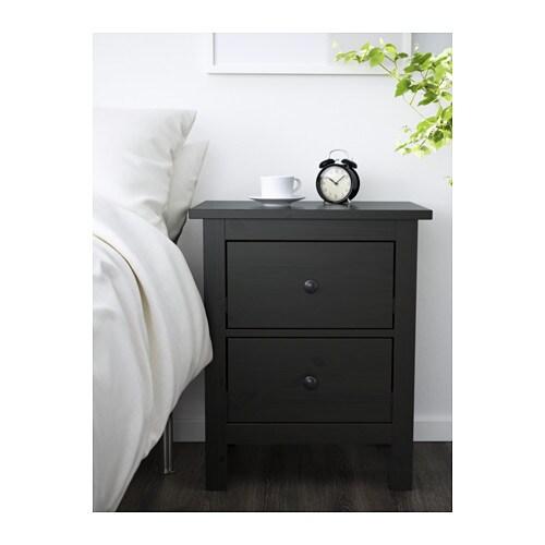 Hemnes 2 drawer chest black brown ikea - Cassettiera ikea hemnes ...