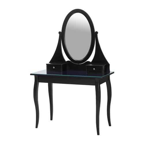 Hemnes dressing table with mirror black ikea for Miroir ikea noir