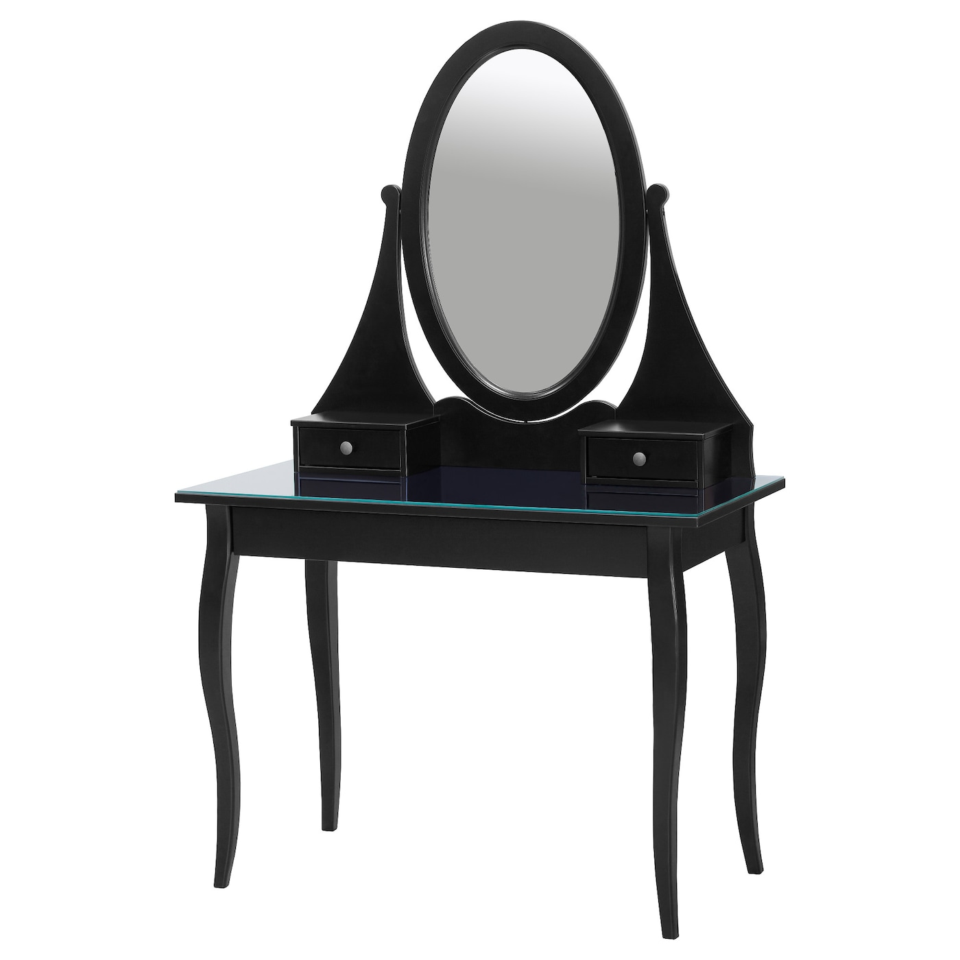 Ikea Hemnes Dressing table with mirror, black, 39 3/8x19 5/8