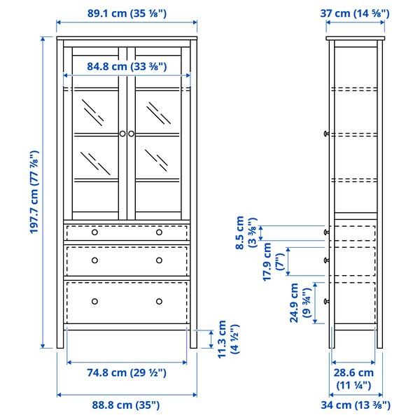 """HEMNES Glass-door cabinet with 3 drawers, black-brown/light brown, 35 3/8x77 1/2 """""""