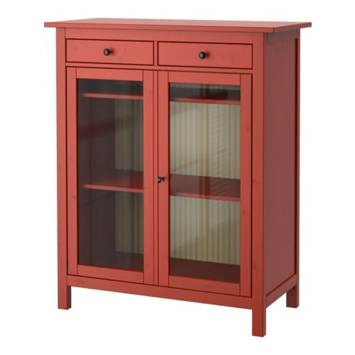 HEMNES Linen cabinet   Solid wood, a hardwearing natural material.  Both shelves are adjustable to four different positions.