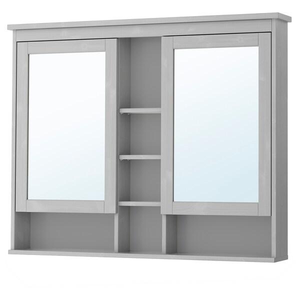 HEMNES Mirror cabinet with 2 doors - gray - IKEA