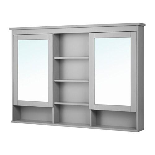 Hemnes mirror cabinet with 2 doors gray 140x98 cm ikea for Miroir ikea hemnes