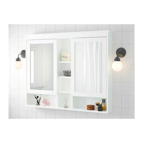 HEMNES Mirror cabinet with 2 doors - white, 83x16x98 cm - IKEA