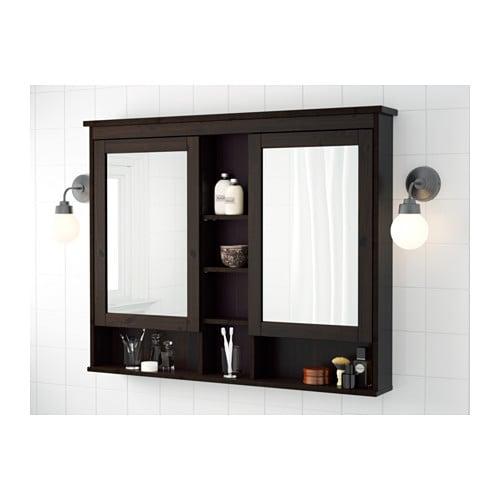 Hemnes Mirror Cabinet With 2 Doors Black Brown Stain 83x16x98 Cm Ikea