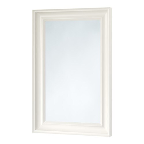 HEMNES Mirror   Can be hung horizontally or vertically.  Safety film  reduces damage if glass is broken.