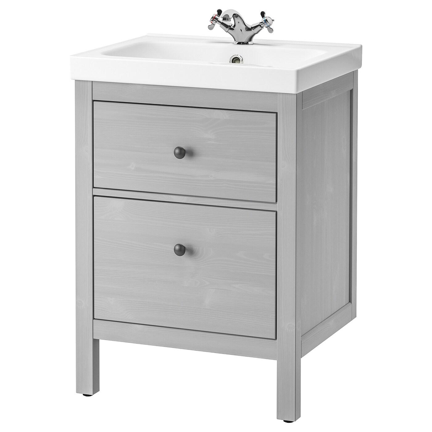 HEMNES / ODENSVIK Bathroom vanity - gray/Runskär faucet - IKEA