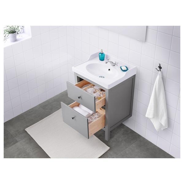 """HEMNES / RÄTTVIKEN Bathroom vanity, gray/Runskär faucet, 24 3/8x19 1/4x35 """""""