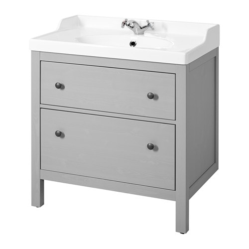 Hemnes r ttviken sink cabinet with 2 drawers gray ikea for Handtuchhalter vintage