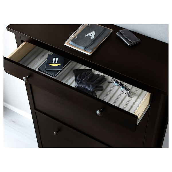 """HEMNES Shoe cabinet with 2 compartments, black-brown, 35x11 3/4x50 """""""