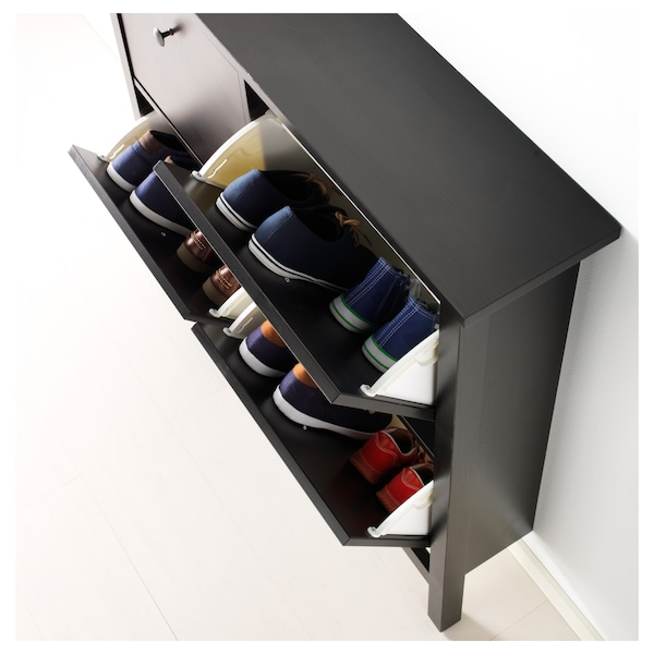 """HEMNES Shoe cabinet with 4 compartments, black-brown, 42 1/8x39 3/4 """""""