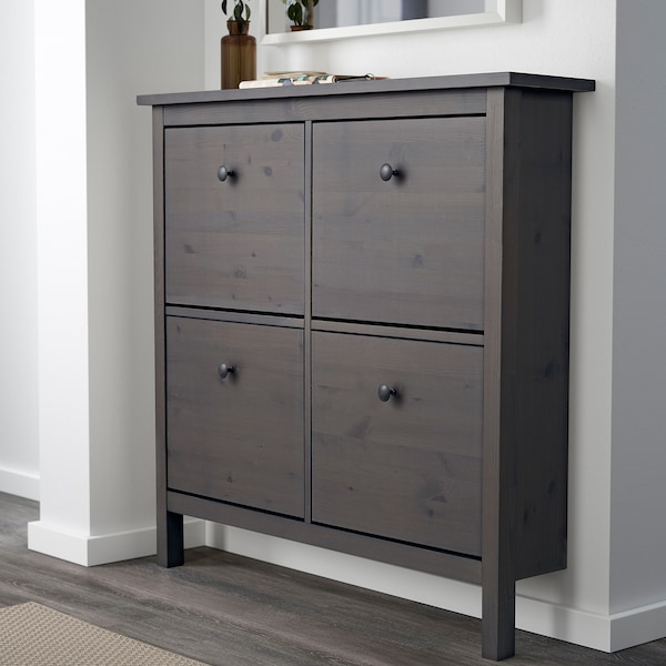 """HEMNES Shoe cabinet with 4 compartments, dark gray stained, 42 1/8x39 3/4 """""""