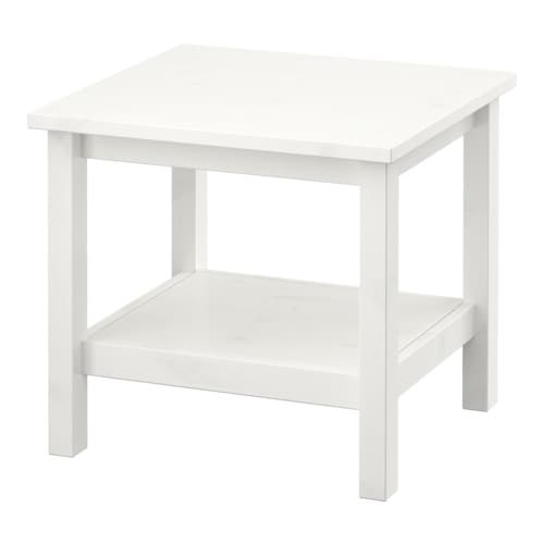 HEMNES Side table   Solid wood has a natural feel.  Separate shelf for magazines, etc.