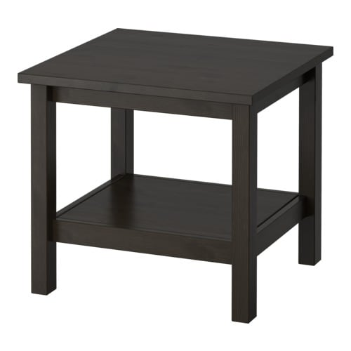 HEMNES Side table   Solid wood; gives a natural feel.  Separate shelf for storing magazines, etc.
