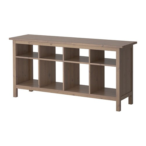 HEMNES Sofa table Solid wood has a natural feel. 8 compartments in two ...