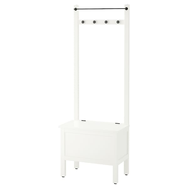 IKEA HEMNES Storage bench w/towel rail+4 hooks