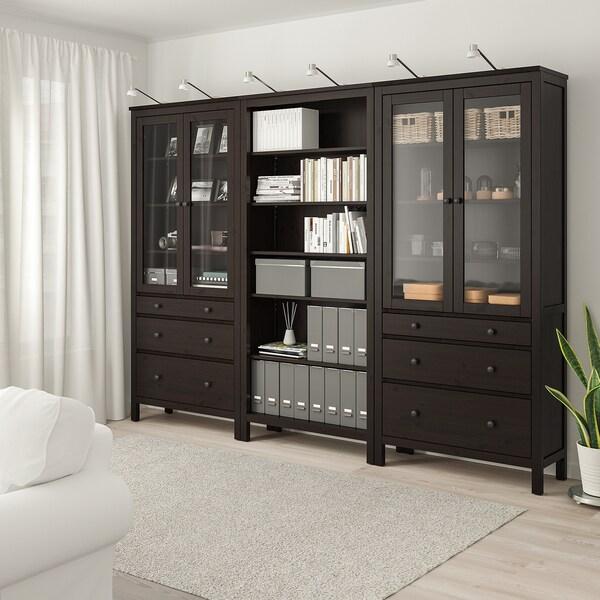 "HEMNES Storage combination w doors/drawers, black-brown, 106 1/4x77 1/2 """