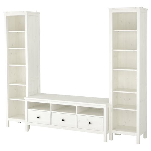 "HEMNES TV storage combination white stain 96 1/2 "" 77 1/2 "" 14 5/8 "" 18 1/2 """