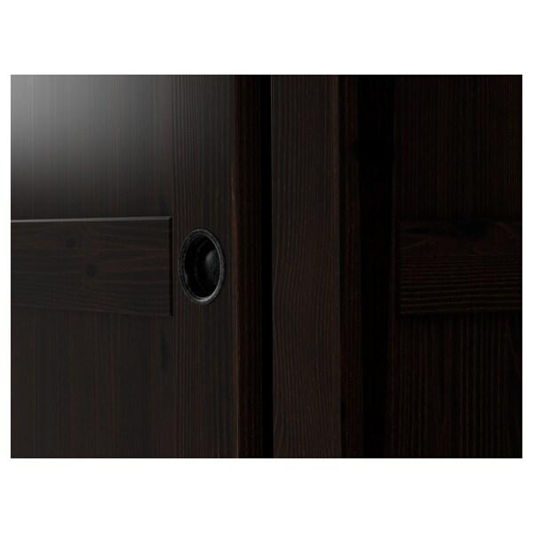 "HEMNES Wardrobe with 2 sliding doors, black-brown, 47 1/4x77 1/2 """