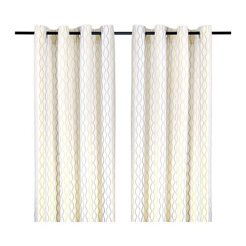 HENNY RAND Curtains, 1 Pair   White/brown/gray   IKEA