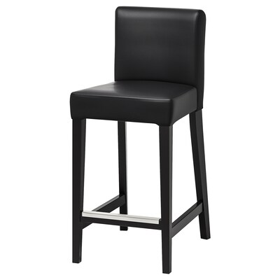 HENRIKSDAL Bar stool with backrest, brown-black/Glose black, 30x19 ""