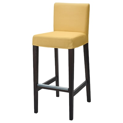 HENRIKSDAL Bar stool with backrest, dark brown/Orrsta golden-yellow, 29 7/8x19 ""