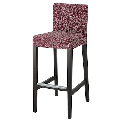HENRIKSDAL Bar stool with backrest, dark brown/Ryrane dark red, 29 7/8x19 ""