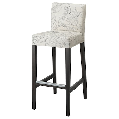 HENRIKSDAL Bar stool with backrest, dark brown/Vislanda black/white, 29 7/8x19 ""