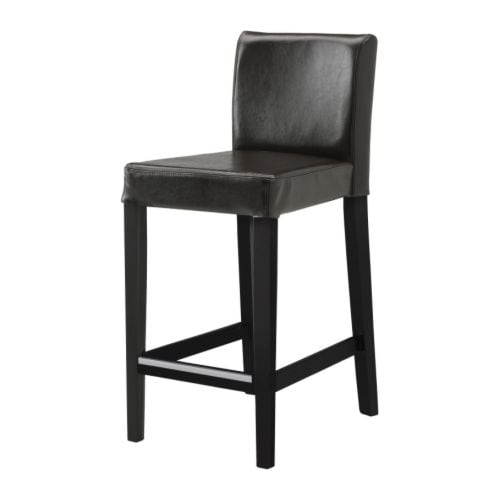 HENRIKSDAL Bar stool with backrest   Durable Bycast leather with a protective finish; easy to wipe clean with a damp cloth.