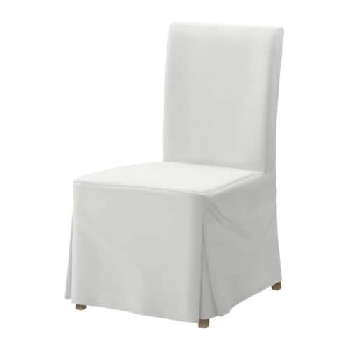 HENRIKSDAL Chair with long cover   You sit comfortably thanks to the high back and seat with polyester wadding.