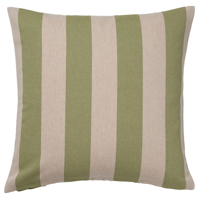 HILDAMARIA Cushion cover, green natural/striped, 20x20 ""