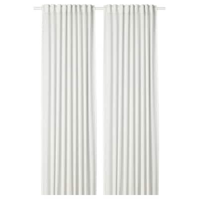 """HILJA curtains, 1 pair white 118 """" 57 """" 2 lb 4 oz 46.82 sq feet 2 pack"""