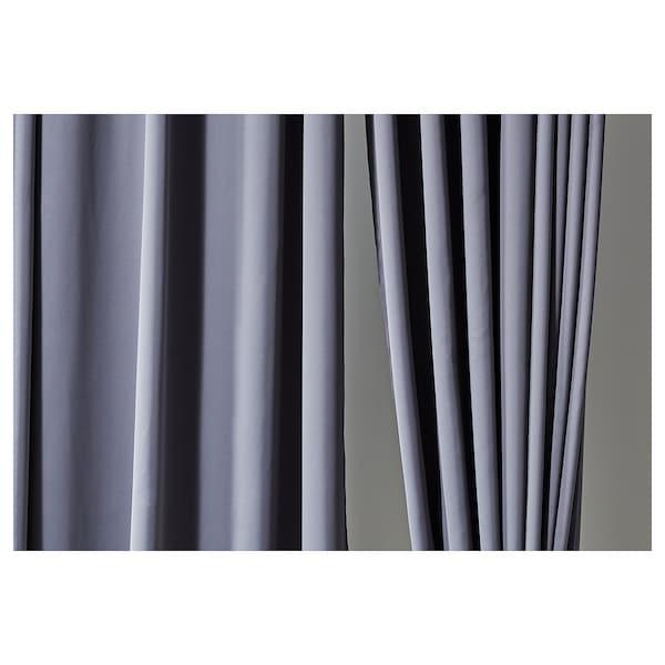 "HILLEBORG Blackout curtains, 1 pair, gray, 57x118 """