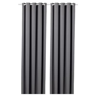 """HILLEBORG blackout curtains, 1 pair gray 118 """" 57 """" 5 lb 1 oz 46.82 sq feet 2 pack"""