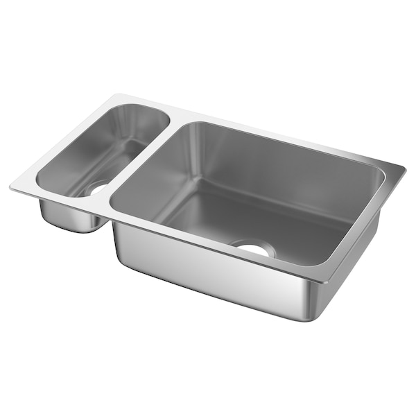 HILLESJÖN 1 1/2 bowl dual mount sink, stainless steel, 29 1/2x18 1/8 ""