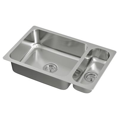 "HILLESJÖN 1 1/2 bowl dual mount sink, stainless steel, 29 1/2x18 1/8 """