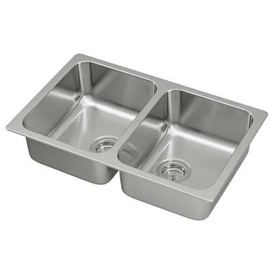 """HILLESJÖN Double bowl dual mount sink, stainless steel, 29 1/2x18 1/8 """""""