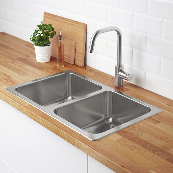 "HILLESJÖN Double bowl dual mount sink stainless steel 17 3/8 "" 28 3/4 "" 7 1/8 "" 13 "" 15 3/4 "" 5 gallon 7 1/8 "" 13 "" 15 3/4 "" 5 gallon 18 1/8 "" 29 1/2 "" 18 1/8 """