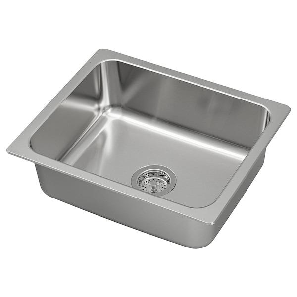 """HILLESJÖN Sink, stainless steel, 22x18 1/8 """""""