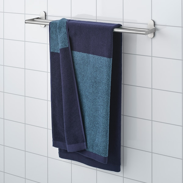 Himlean Bath Towel Dark Blue Marled 28x55 70x140 Cm Ikea