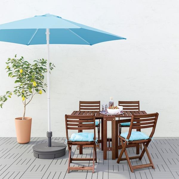 "HÖGÖN Patio umbrella with base, light blue/Grytö dark gray, 106 1/4 """