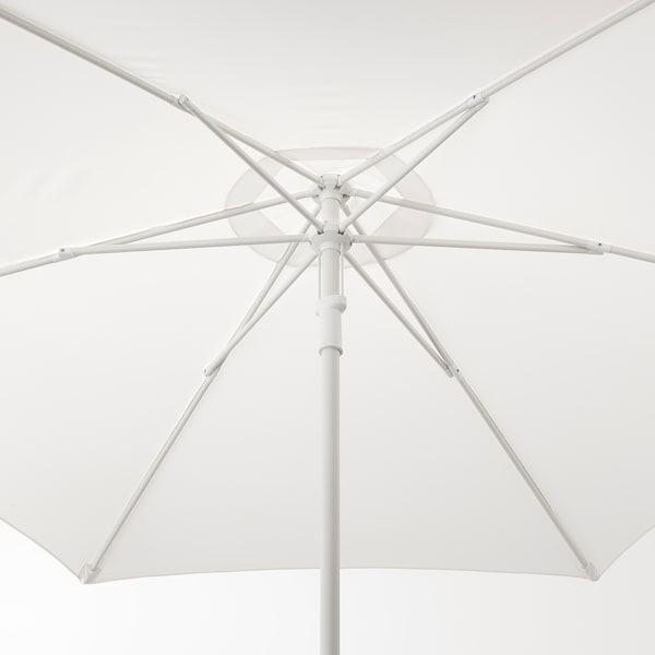HÖGÖN Patio umbrella with base, white/Grytö dark gray, 106 1/4 ""