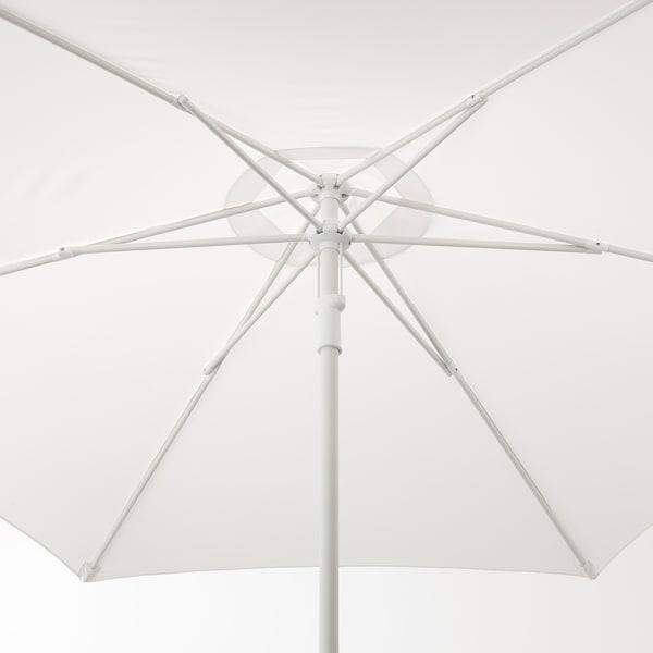 "HÖGÖN Patio umbrella with base, white/Huvön dark gray, 106 1/4 """