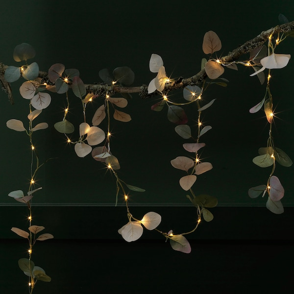 HÖSTPROMENAD LED string light with 40 lights, battery operated/eucalyptus green