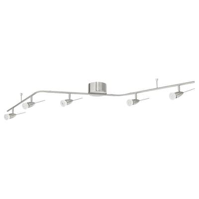 HUSINGE Ceiling track, 5-spots, nickel plated