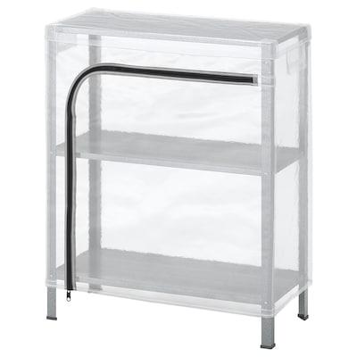 """HYLLIS Shelf unit with cover, transparent, 23 5/8x10 5/8x29 1/8 """""""
