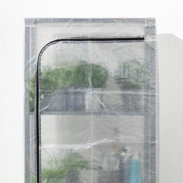 """HYLLIS Shelf unit with cover, transparent, 23 5/8x10 5/8x55 1/8 """""""