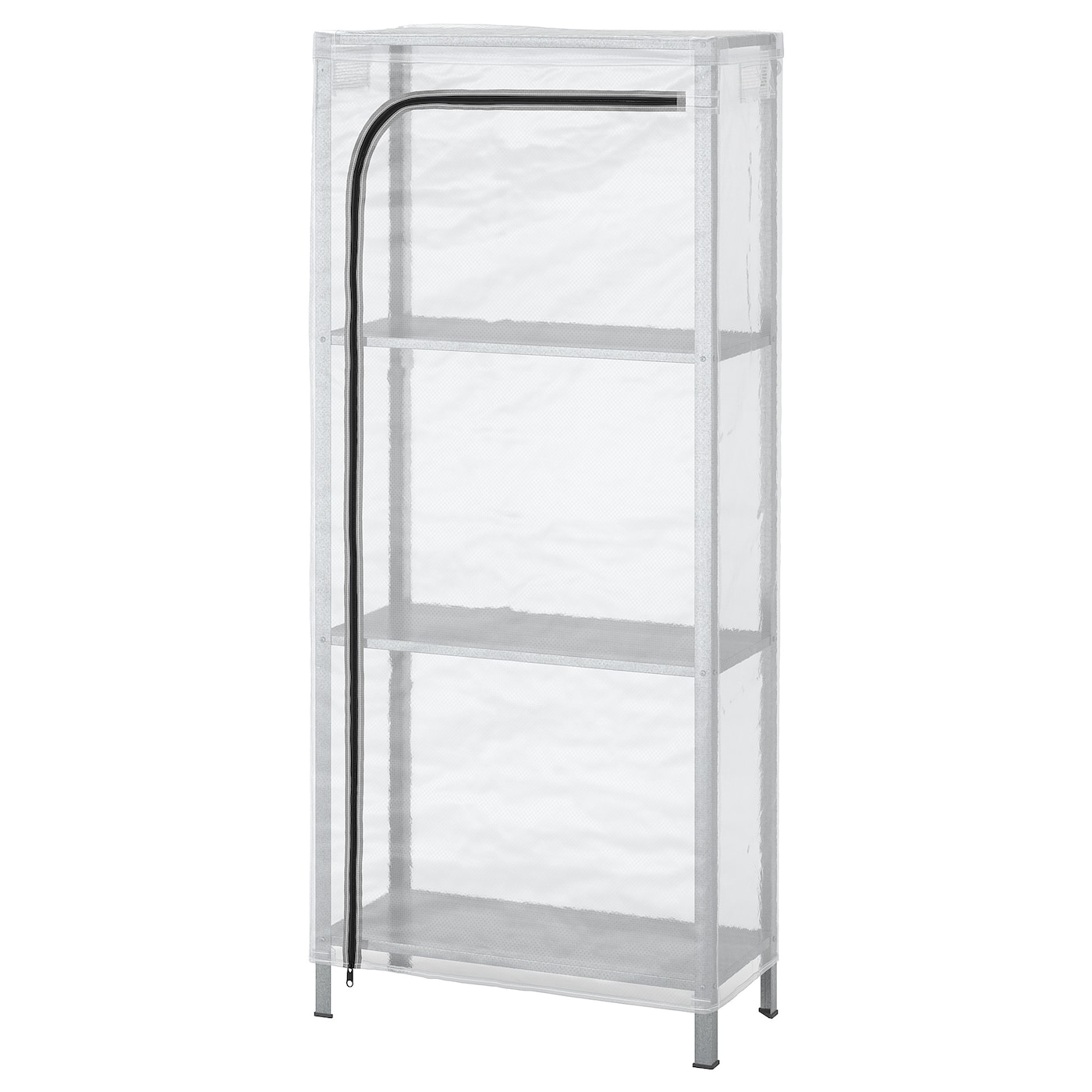 Ikea HYLLIS Shelf unit with cover, transparent, 23 5/8x10 5/8x55 1/8