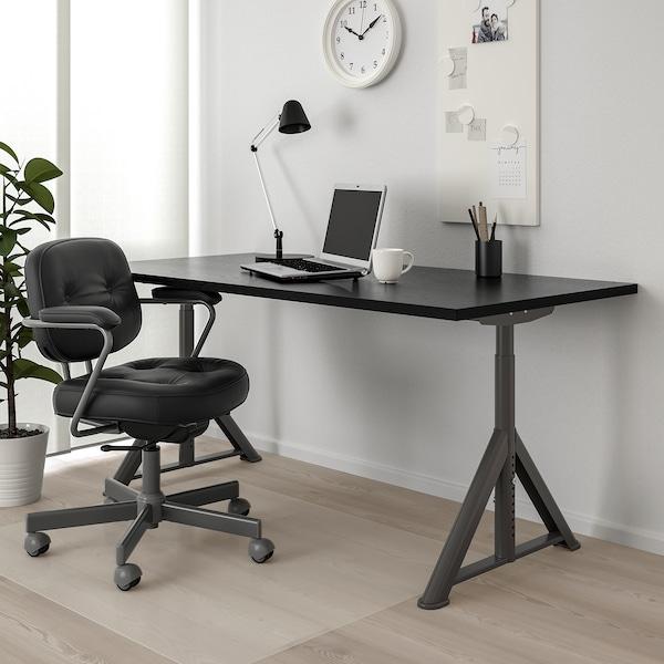 """IDÅSEN Desk, black/dark gray, 63x31 1/2 """""""